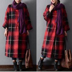 bdd76709c49 Women winter plaid woolen coat - Tkdress - 1