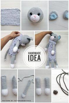 Crochet Cat Pattern, Crochet Toys Patterns, Stuffed Toys Patterns, Crochet Crafts, Crochet Dolls, Crochet Stitches, Crochet Baby, Crochet Projects, Knitting Patterns
