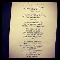 Set list Enrique Bunbury