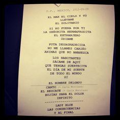 Set list Enrique Bunbury