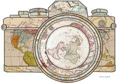 Map inside of camera...LOVE this for a tattoo idea.