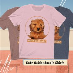 Cute Goldendoodle tees for pet moms and gifts. Dog Mom Shirt, Mom Shirts, T Shirt, Cool Doodles, Mini Goldendoodle, Graphic Tee Shirts, Funny Tees, Dog Art, Colorful Shirts