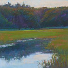 Ed Chesnovitch,landscape painting, pastel, Cape Cod, salt marsh, Provincetown,