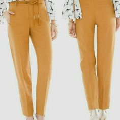 Chicos Ankle Pants Size XS Mustard Yellow Slimming Tapered Straight Creased Leg #Chicos #Tapered #Business Ankle Pants, Mustard Yellow, Ankle Length, Online Price, Thighs, Overalls, Khaki Pants, Pajama Pants, Slim