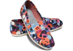 Toms Colorful Flower Women Slip On Shoes