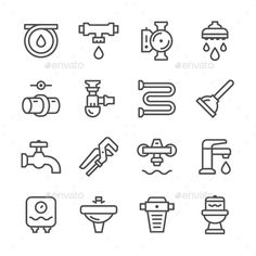 Set Line Icons of Plumbing by moto-rama Set Line Icons of Plumbing Isolated on White RGB color choice for use in infographic and interface Attached Shop Icon, Icon Set, Business Brochure, Business Card Logo, Icon Design, Logo Design, Graphic Design, Leaking Pipe, Plumbing Companies