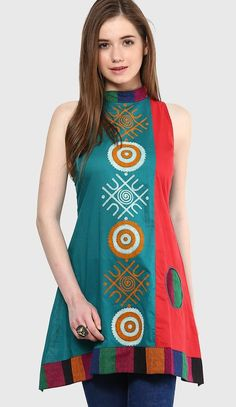 A-line short kurti for jeans