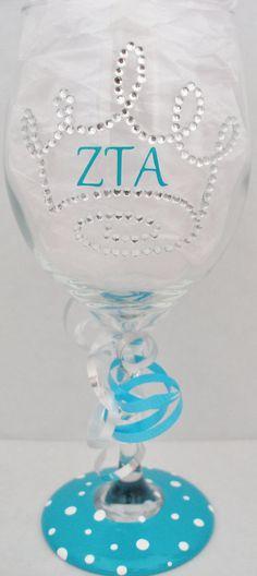 Zeta Tau Alpha Bling Wine glass on Etsy, $24.00