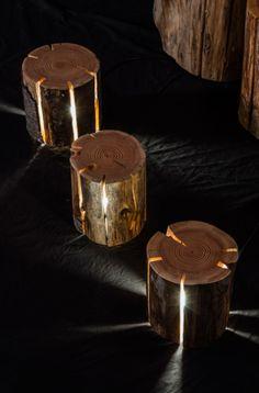 runde Holzhocker mit Beleuchtung als runder Beistelltisch und beleuchteter Nachttisch