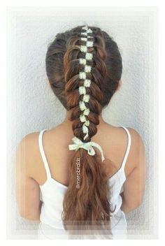 checkerboard 5 st woven dutch braid with 2 ribbon strands and 3 normal hair strands