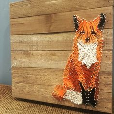 Fox string art! fun using different shades of orange to bring it to life