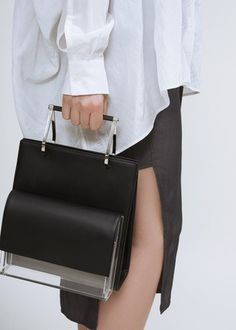 Hugo Matha black calf transparent clutch with tote on ShopStyle.