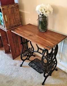 Reclaimed Wood Sewing Machine Table- could use Walton wood floor or my marble thresholds.
