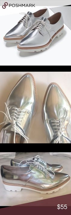 Zara Metallic Oxfords Size 37. Metallic silver lace ups. White track sole with natural color contrast. Excellent condition. Zara Shoes