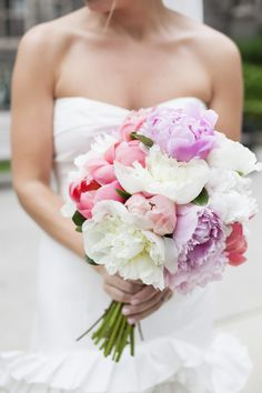 This mixed Peony Bouquet is to die for! See more of the wedding on Style Me Pretty: http://www.StyleMePretty.com/canada-weddings/ontario/toronto/2014/02/17/pink-gardiner-museum-wedding/