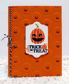 Stampin' Up! ... handmade Halloween card from Sleepy in Seattle ... great idea on a simple format ... used big dot embossing folder on orange card front ... stamped little face on each dot ... cute!!