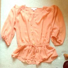 Peach Peasant Blouse Only worn once. Great condition! Loose fit, 3/4 length sleeve. Can dress it up or down. Forever 21 Tops Blouses