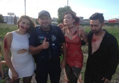 Beenleigh Police attended the abandoned DFO building after reports of trespassers.  Officers were confronted by real life zombies. Unfortunately, Constable Gunn was unwillingly taken hostage by the zombies.  The zombies agreed they would free Constable Gunn on the condition he would take some photos with them. Constable Gunn is still in quarantine to determine if he now carries the zombie virus.