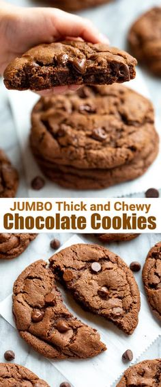 Huge thick and chewy cookies are all the rage right now and these double Chocolate Cookies fit the bill as the BEST chocolate cookies ever! Chewy Chocolate Cookies, Chocolate Cookie Recipes, Best Chocolate, Chocolate Desserts, Sweet Desserts, Easy Desserts, Delicious Desserts, Dessert Recipes, Yummy Food