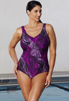 Aquabelle Berry Palm V-Neck Swimsuit