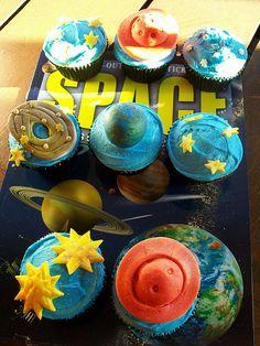 Space birthday cupcakes