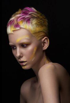 Short haircut by Ryu Kyougoku. Pink and yellow Vivid Hair Color, Cute Hair Colors, Short Hair Cuts, Short Hair Styles, Creative Haircuts, Creative Hair Color, Avant Garde Hair, Beauty Tips For Teens, Hair Photography