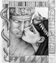 Lovers and Fighters  Anthony & Cleopatra, a pencil drawing from the series of Famous Lovers by Esther Morrison Smith.