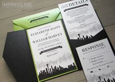 seattle skyline weddong invitation introduces a new Seattle