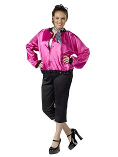 Become a character straight from the Broadway show, Grease, when you put on this Women's Plus Size T-Bird Sweetie Costume which includes this lovely satin pink lady jacket, black capri pants, and coordinating neck scarf.