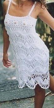 Vestido de crochet de grampo