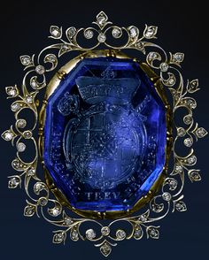 Sapphire and Diamond Brooch - century gold, silver, and diamond frame - century German octangonal sapphire intaglio engraved with the arms of Johann Hugo von Orsbeck, Bishop of Speyer, Abbot of Prum and Provost of Weissenburg Royal Jewelry, Fine Jewelry, Turquoise Jewelry, Gemstone Jewelry, Antique Jewelry, Vintage Jewelry, Handmade Jewelry, Diamond Brooch, Vintage Brooches