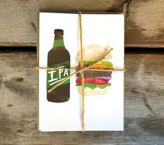 Beer and Food Pairing A6 Cards  Set of 4 by redcruiser on Etsy, $14.00