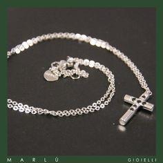 Catena in acciaio con croce con strass neri Collezione #ManClass   Steel chain with cross with black rhinestones #ManClass Collection