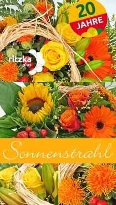 """Blumengroßhandel Ritzka: Blumenstrauß """"Sonnenstrahl"""" Eine stimmungsvolle Mischung sommerlich warmer Farben, von Gelb über Orange bis hin zu intensivem Rot, sorgt fürinteressante Variationen unseres zweiten Jubiläumsstraußes."""