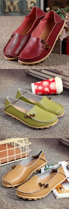 $14.78 Big Size Comfortable Soft Casual Leather Muilti-Way Flat Shoes,flat shoes,flat shoes outfit,flat shoes women,flats,women shoe