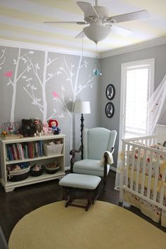 Minus the pink birds on the wall this is a pretty gender neutral room. I like the ceiling.