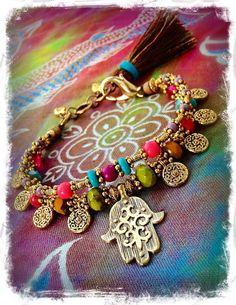 Gold HAMSA BRACELET Hamsa Hand Fatima Bracelet Protection bracelet Hippie Gypsy stackable double strand bracelet beaded pink and blue GPyoga
