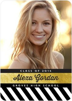 Shining Triumph - #Graduation Announcements - Robyn Miller in black and white stripes with a gold accent.