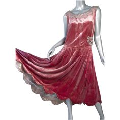 1920's Silk Velvet Flapper Dress *Dusty Rose *Lame *Paste Appliques $985