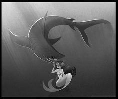 elasmosaurus: Mermaid and a toothy friend
