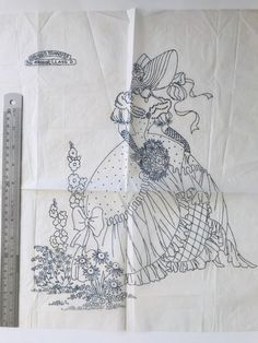 HUGE VTG crinoline woman iron on embroidery transfer (bzp) Iron On Embroidery, Embroidery Transfers, Learn Embroidery, Hand Embroidery Patterns, Vintage Embroidery, Embroidery Stitches, Machine Embroidery, Embroidery Sampler, Betty Boo