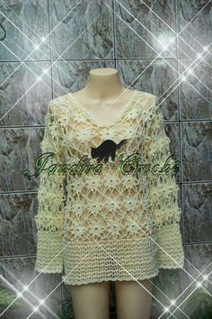 blusa em crochê feita com squares,. https://www.facebook.com/jandirabxgcroche/