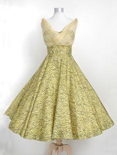 Vintage 1950&-39-s dress ...beautiful blue floral chiffon full skirt ...