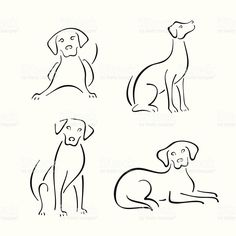 stylized dogs on a white background. dog line drawing Dog Tattoos, Tatoos, Silhouette Chat, Forest Silhouette, Woman Silhouette, Animal Drawings, Art Drawings, Tattoo Drawings, Dog Line Drawing