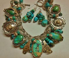 Native American Kokopelli Bracelet Turquoise Charms Bench beads sterling silver #WhiteBuffaloCreations $340.00