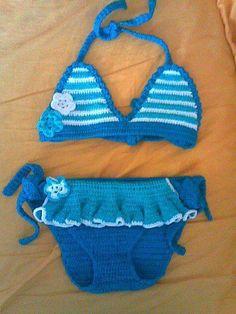Crochet Baby Bikini, Crochet Dress Girl, Crochet Girls, Crochet For Kids, Knit Crochet, Crochet Baby Sweaters, Crochet Baby Clothes, Baby Swimwear, Baby Swimsuit