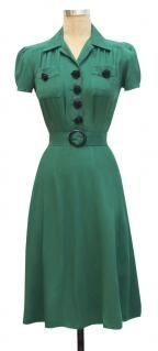 trashy diva sweetie green rayon black rose buttons 1940s inspired dress