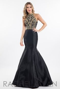 Rachel Allan 7526 Black High Neck Prom Dress