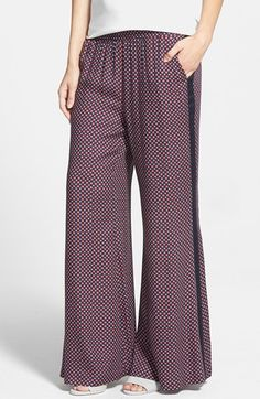 Free shipping and returns on Search for Sanity Print Flare Pants at Nordstrom.com. Contrast stripes flank the wide legs of floor-grazing flare pants constructed from featherweight rayon. A cool mosaic print completes the boho-chic look.