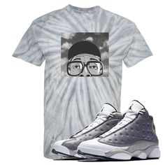 55229c3a179d34 This Tie Dye Tee Shirt is custom design to perfectly match the Jordan 13  Atmosphere Grey